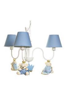 Lustre 3L Simples Com 3 Ursinhos Príncipes Bebê Infantil Potinho De Mel Azul
