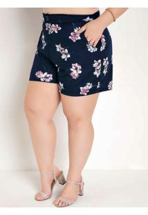 Short Floral Marinho Com Bolsos Plus Size