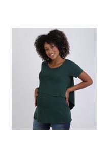 Blusa Feminina Gestante Alongada Com Sobreposição Manga Curta Verde Escuro
