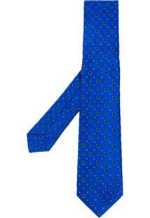 Kiton Gravata Com Bordado - Azul