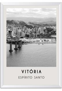 Quadro Oppen House 65X45Cm Cidades Vitória Brasil Moldura Branca Com Vidro - Oppen House Decora