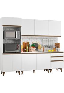 Cozinha Completa Madesa Reims Com Balcão - 8 Portas 3 Gavetas Branco