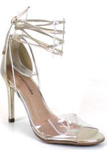 Sandália Emporionaka Cristal Feminina - Feminino-Dourado