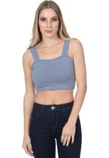 Blusa Cropped Com Recortes- Azul & Brancajavali