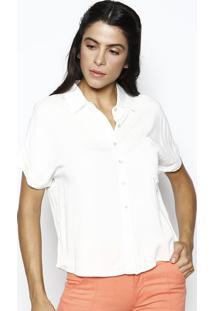 ... Camisa Manga Curta Com Bolso- Off White- Heringhering 3da6730ba91d3