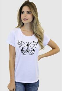 Camiseta Suffix Blusa Estampa Borboleta Formas Basica Gola Redonda Feminina - Feminino-Branco