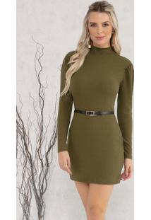 Vestido Com Gola Verde Musgo