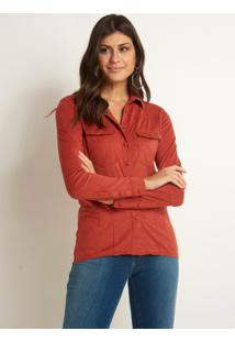 Camisa Le Lis Blanc Mel Suede Amber Laranja Feminina (Amber, 40)