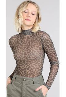 Blusa Feminina Mindset Estampada Animal Print Gola Alta Em Tule Bege