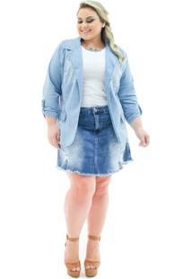 Blazer Jeans Confidencial Extra Plus Size Alongado Aberto Feminino - Feminino-Azul Claro