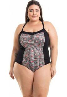 Body Viscolycra Preto Com Recorte Xadrez Miss Masy Plus Size Feminino - Feminino