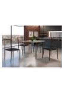 Conjunto De Mesa De Jantar Grécia Com Tampo De Vidro Siena E 4 Cadeiras Atos Couríssimo Preto E Café