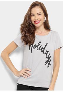 Camiseta Top Moda Holidays Feminina - Feminino-Cinza