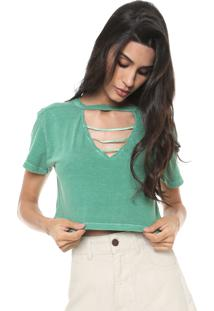 Camiseta Cropped Redley Choker Lisa Off-White