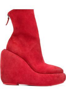 Marsèll Ankle Boot Plataforma De Couro E Camurça - Vermelho