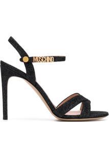 Moschino Sandália Com Tiras E Brilho - Preto