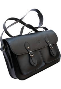 Bolsa Line Store Leather Satchel Pockets Média Couro Preto Premium - Kanui