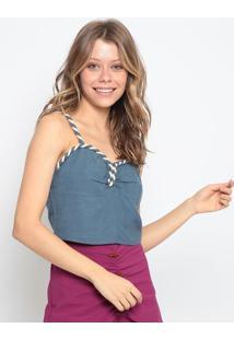 Blusa Cropped Com Linho - Azul & Bege Claro - Chocolchocoleite
