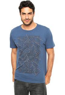 Camiseta Aramis Regular Fit Folhas Azul