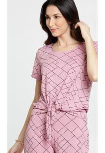 Blusa Feminina Quadriculada Amarração Marisa