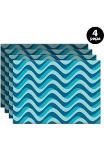 Jogo Americano Mdecore Abstrato 40X28Cm Azul 4Pçs