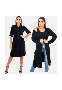 Kit 2 Pças 1 Vestido Chemise E 1 Cardigan Longo Juquitiba Brasil Preto