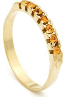 Meia Aliança Horus Import Banhada Ouro Amarelo Pedras Citrino Amarelo