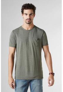 Camiseta Pf Enxuto Bolso Mescla Reserva Masculina - Masculino-Musgo