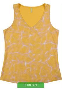 Blusa Feminina Sem Manga Estampada Amarelo