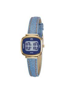 Kit De Relógio Digital Mondaine Feminino + Pulseira - 53861Lpmgdh3K Azul Claro