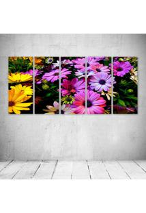 Quadro Decorativo - Purple Yellow Daisy Flowers - Composto De 5 Quadros