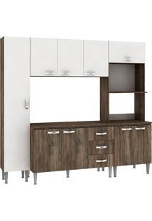 Cozinha Compacta Master Com Tampo Cm04T Naturalle/Branco - Fellicci