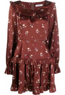 Roses & Lace Vestido Com Estampa Floral De Seda - Marrom