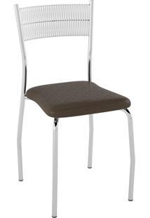 Kit C/ 2 Cadeiras Encosto Branco Assento Courissímo Metalizado Café Pozza