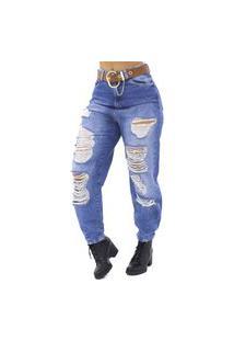 Calça Jeans Baggy Destroyed Com Cinto Feminina Sol Jeans