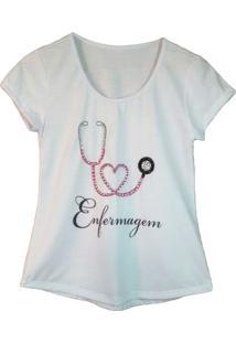 Camiseta Calupa Estampada E Bordada Enfermagem Branca.