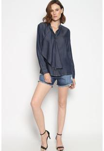 Camisa Lisa Com Babado - Azul Escuroenna