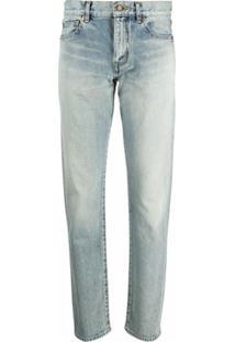 Saint Laurent Calça Jeans Reta Cintura Média - Azul