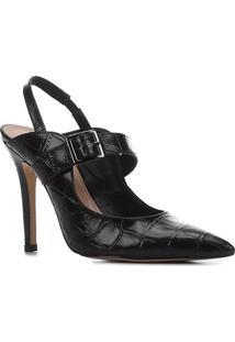 Scarpin Couro Shoestock Salto Alto Croco Bico Fino Fivela - Feminino-Preto