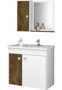 Conjunto P/ Banheiro Munique Branco/Madeira Móveis Bechara