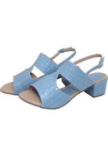 Sandália Donna Santa Verniz Croco Azul Claro - Kanui