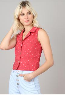 Camisa Feminina Cropped Estampada De Poá Sem Manga Rosa Escuro