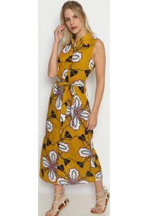 f416cd3428 Privalia. Vestido Longo Com Amarração- Amarelo Escuro   Brancosusan Zheng