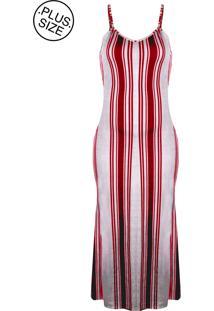 Vestido Outletdri Plus Size Longo Alça Fina Listrado Listra Vertical Estampado Fenda Vermelho