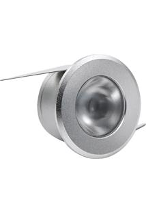 Luminária De Led Redonda De Embutir 1W Bivolt Intelligent 2700K Prata