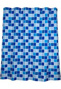 Cortina Para Box De Banheiro Ladrilhos 180X180Cm Azul