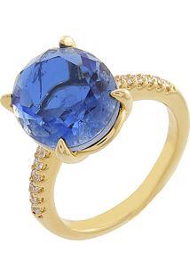 Anel Narcizza Com Pedra Oval Tanzanita Com Detalhes Em Zircônia Cristal Banhado No Ouro - Kanui