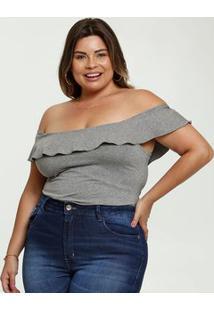 Blusa Feminina Mescla Ombro A Ombro Plus Size