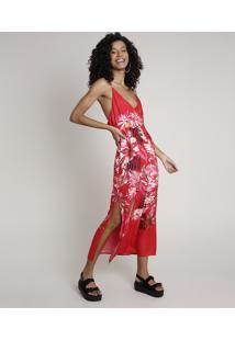 Vestido Feminino Midi Estampado Floral Com Fenda E Transpasse Alça Fina Vermelho