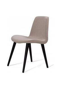 Cadeira Estofada Jacob Lona Bege Com Pes Palito Preto 52Cm - 61244 Preto